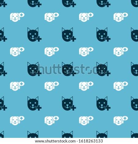 Set Veterinary clinic symbol and Veterinary clinic symbol on seamless pattern. Vector