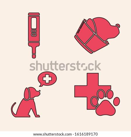 Set Veterinary clinic symbol, Medical digital thermometer, Veterinary clinic symbol and Veterinary clinic symbol icon. Vector