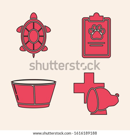 Set Veterinary clinic symbol, Turtle, Clipboard with medical clinical record pet and Protective cone collar icon. Vector