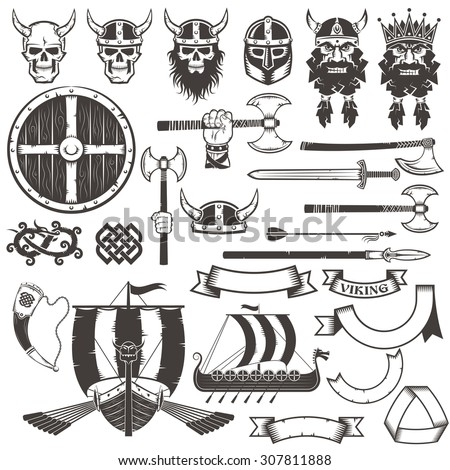 set viking items skull  horned