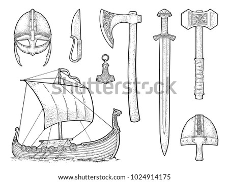 Set viking. Knife, drakkar, axe, helmet, sword, hammer, thor amulet with runes. Vintage vector black engraving illustration isolated on white background. Hand drawn design element for poster, tattoo