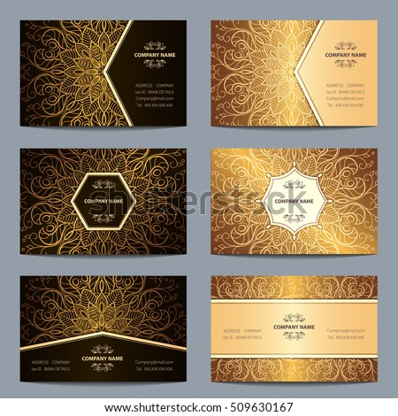 set vintage business card with