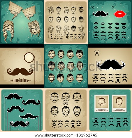 set vintage cards girls and mans faces. girls faces with hair, sunglasses and shape of the lips.mans Faces with Mustaches, sunglasses,eyeglass es and a bow tie