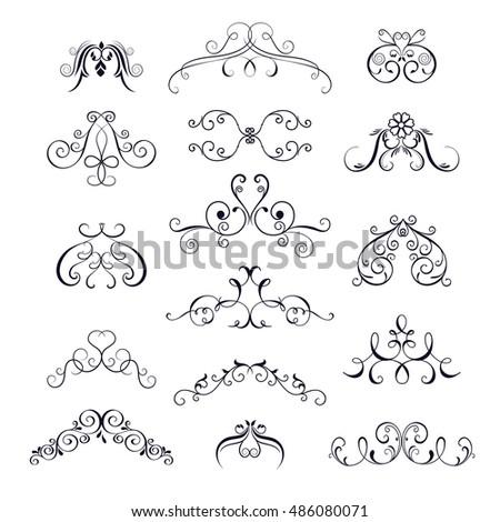 Set Vintage Decorative Elements Borders Corner For Design