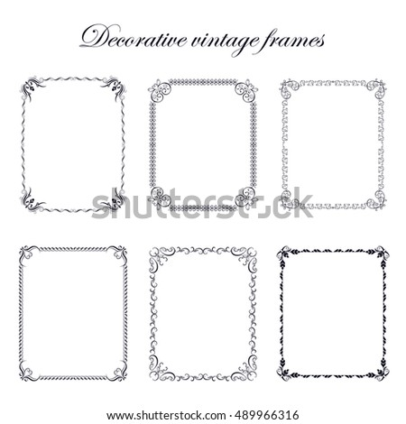Set vintage decorative elements, frames for design frameworks and banners. Can use for birthday card, wedding invitations.