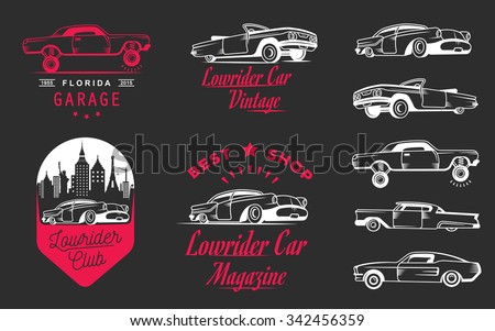 set vintage lowrider logo