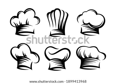 set vintage of chef and cook hats - Vector Foto stock ©