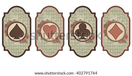 Set vintage poker cards, vector illustration