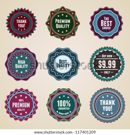 Set 9 vintage premium quality labels