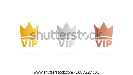 set vip badges in gold  silver