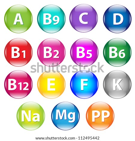 Set Vitamins, Isolated On White Background, Vector Illustration