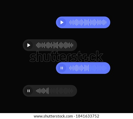 Set voice messages icon with sound wave for social media. Sms template bubbles for compose voice dialogues. Dark interface design. Vector illustration.