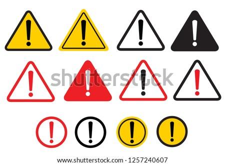 Set warning sign. Danger warning attention sign. Vector illustration. on white background