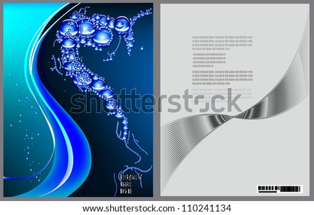 water brochure template - set water and bubbles vector image of template for