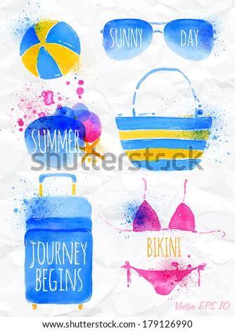 set watercolor blue beach