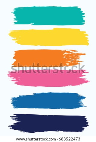 Set - watercolor brush strokes in grunge style - multicolored bright on white background - isolated - art creative modern abstract vector