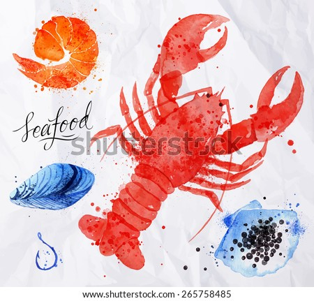 Set watercolor drawn seafood, caviar, mussels, shrimp, shell, hook on crumpled paper