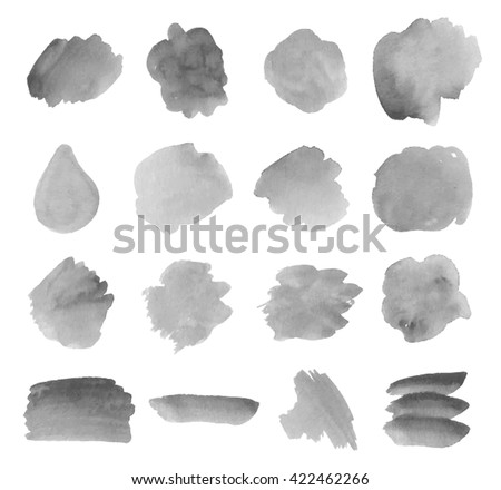 set watercolor ink grey vector