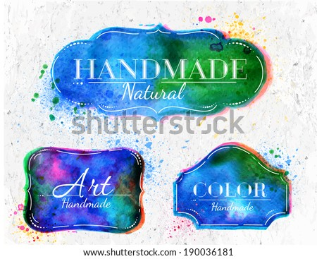 set watercolor labels design