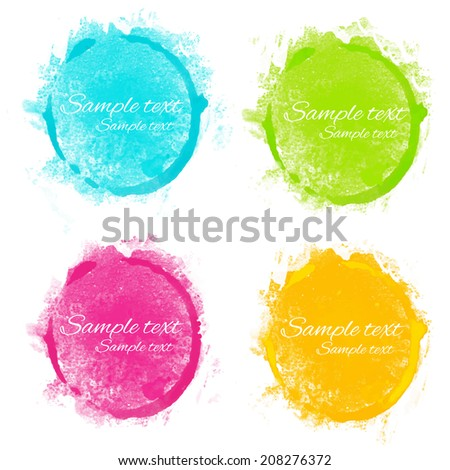 set watercolor rainbow circle