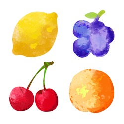Set watercolor silhouettes fruit and berries isolated on a white background. Lemon, cherry, grapes, orange - vector