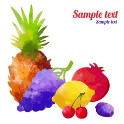 Set watercolor silhouettes fruit and berries isolated on a white background. Pineapple, cherry, grapes, lemon, plum, pomegranate - vector