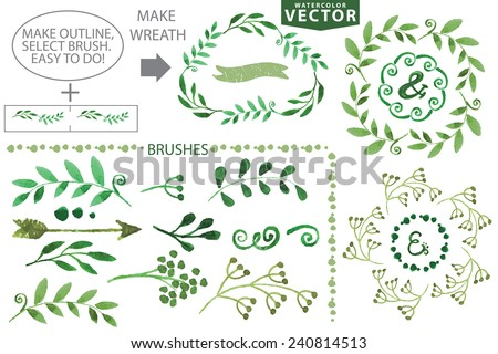 Set watercolor wreaths and laurel.Hand painted green branches,leaves,leaf,petal decor elements.For design template,invitation.Watercolor Hand sketched brushes. Nature,organic items.Vector.Easy to edit