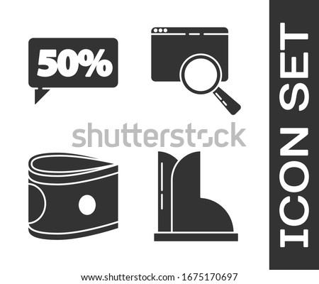 Set Waterproof rubber boot, Fifty discount percent tag, Stacks paper money cash and Search in a browser window icon. Vector
