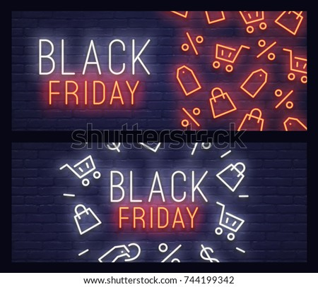 Set web banner Black Friday. Neon sign. Web banner, logo, emblem and label. Neon sign, bright signboard, light banner.