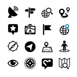 Set web icons. Location, navigation, map