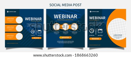 Set webinar social media post template concept design. online marketing promotion banner.