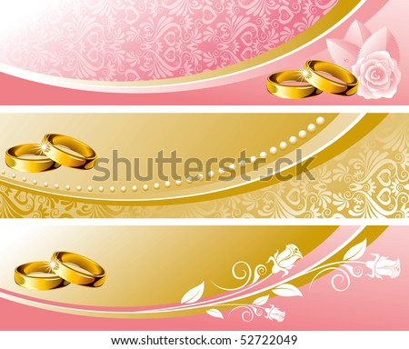 Set wedding background in pink and gold tone, vector