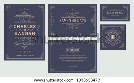 Set wedding flourishes ornaments invitations cards. Invite, save the date, table number and information design. Vintage victorian frames and decorations. Vector elegant template.