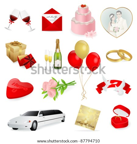 Set: wedding icons. Day for lovers and love. Rings, birds and cake are necessarily things for this Great day
