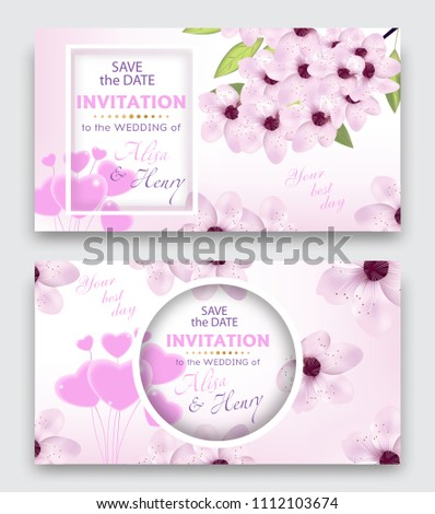 Set wedding invitation template or greeting card. Elegant background with cherry or sakura blossom flowers and balloon hearts. Vector illustration. #1112103674