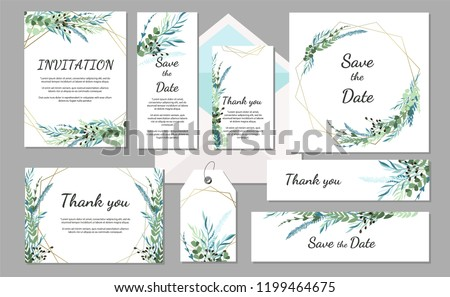 Set Wedding invitation vintage card with leaves and geometric frames. Vector illustration #1199464675