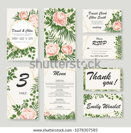 set Wedding Invitation with peonies, flowers and green leaves. rsvp is a modern card design. natural, Botanical, elegant vector illustration #1078307585