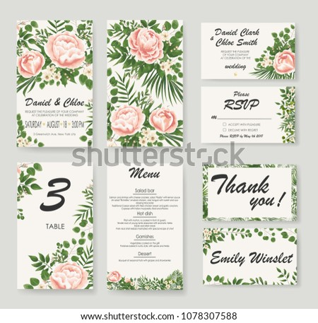 set Wedding Invitation with peonies, flowers and green leaves. rsvp is a modern card design. natural, Botanical, elegant vector illustration #1078307588