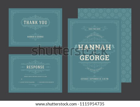Set wedding invitations flourishes ornaments cards. Invite, save the date and response design. Vintage victorian frames and decorations. Vector elegant template.