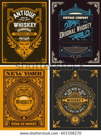 Set Whiskey labels. vector