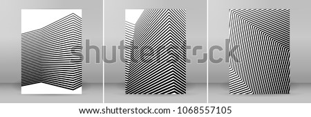 Set White black color. Linear background. Design elements. Poligonal lines. Protective layer for banknotes, certificates template. Vector Vector lines of different thicknesses from thin to thick EPS10