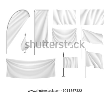 set white flags  banners
