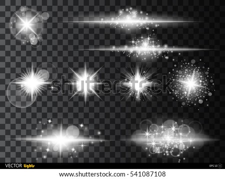 Set  white glowing light burst explosion with transparent. Vector illustration for cool effect decoration with ray sparkles. Bright star. Transparent shine gradient glitter bright flare. Glare texture