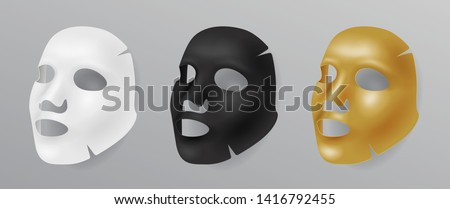 Set white, gold and black cloth face mask, cosmetic procedures, rejuvenation, realistic vector illustration isolated