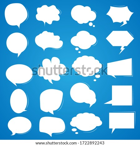 Set white speech bubbles on a blue background.