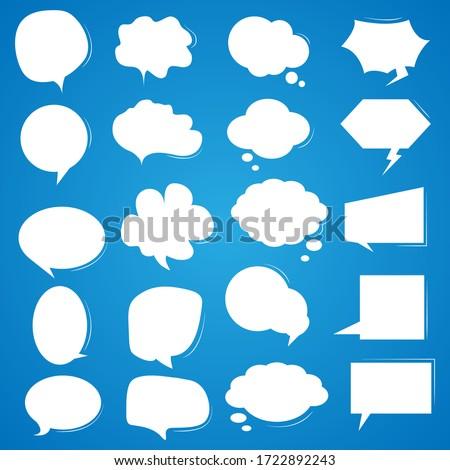 Set white speech bubbles on a blue background.
