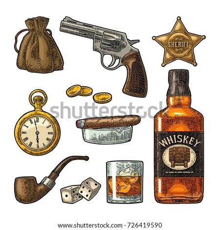set wild west symbols sheriff