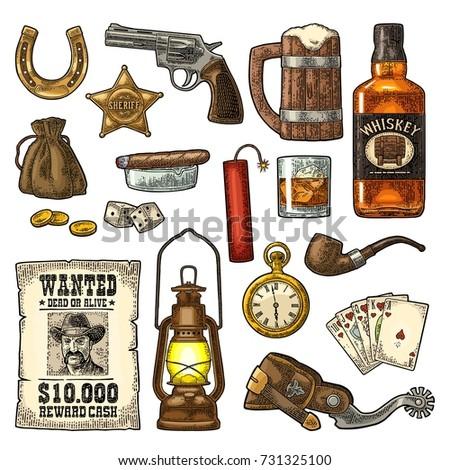set wild west symbols sheriff
