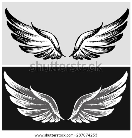 set wings hand drawing  vector