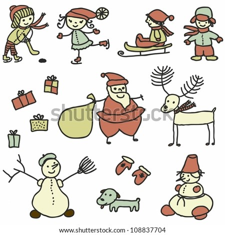 set winter doodles with santa and children playing ,